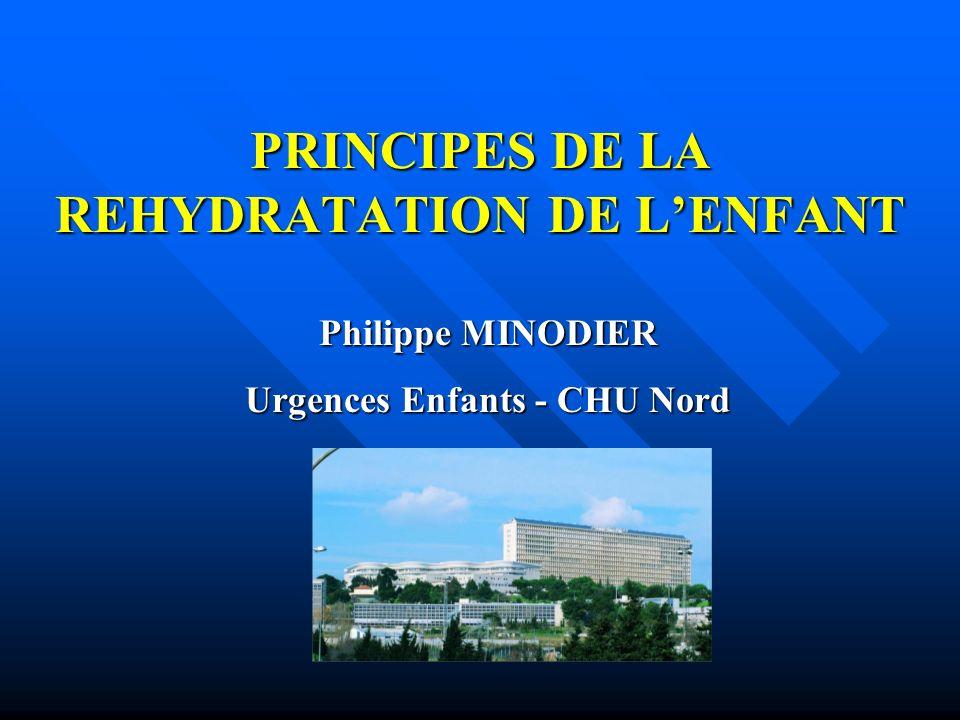 PRINCIPES DE LA REHYDRATATION DE LENFANT Philippe MINODIER Urgences Enfants - CHU Nord