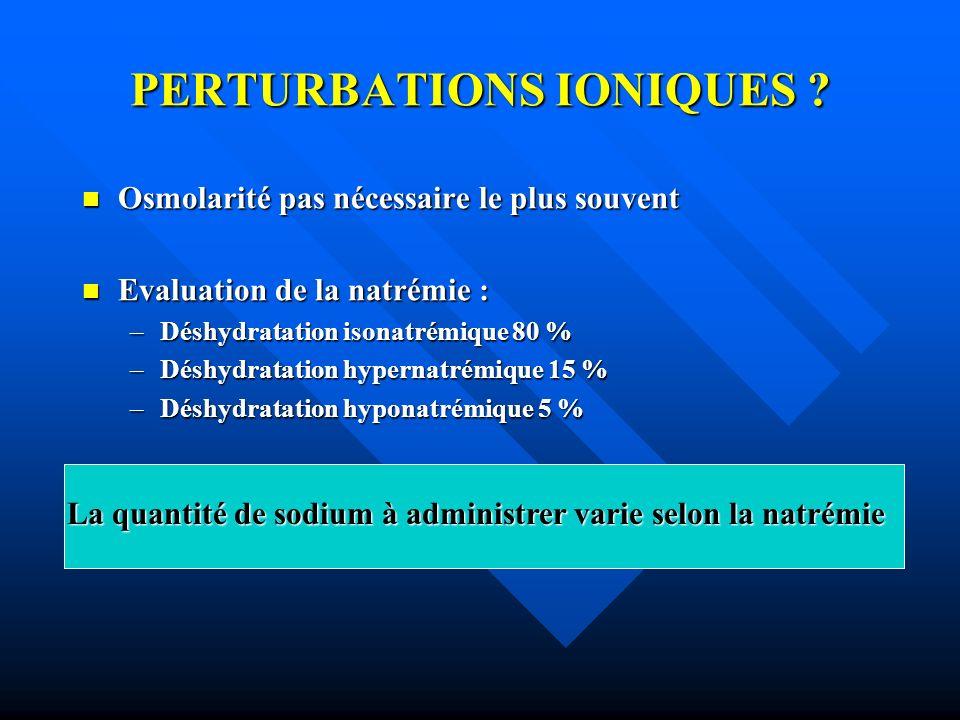 PERTURBATIONS IONIQUES ? Osmolarité pas nécessaire le plus souvent Osmolarité pas nécessaire le plus souvent Evaluation de la natrémie : Evaluation de
