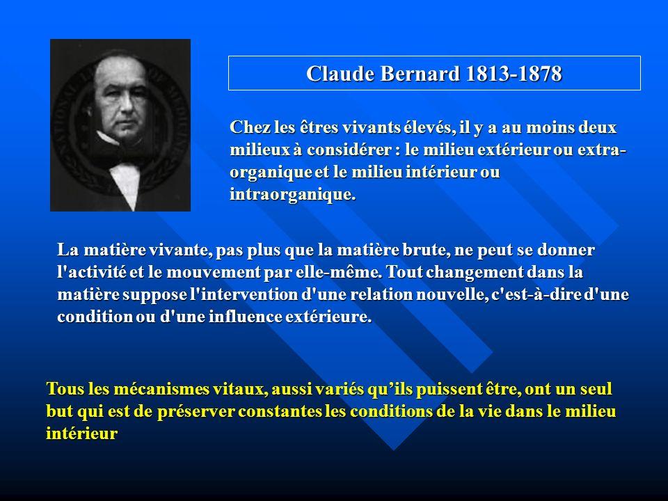 Claude Bernard 1813-1878 Chez les êtres vivants élevés, il y a au moins deux milieux à considérer : le milieu extérieur ou extra- organique et le mili