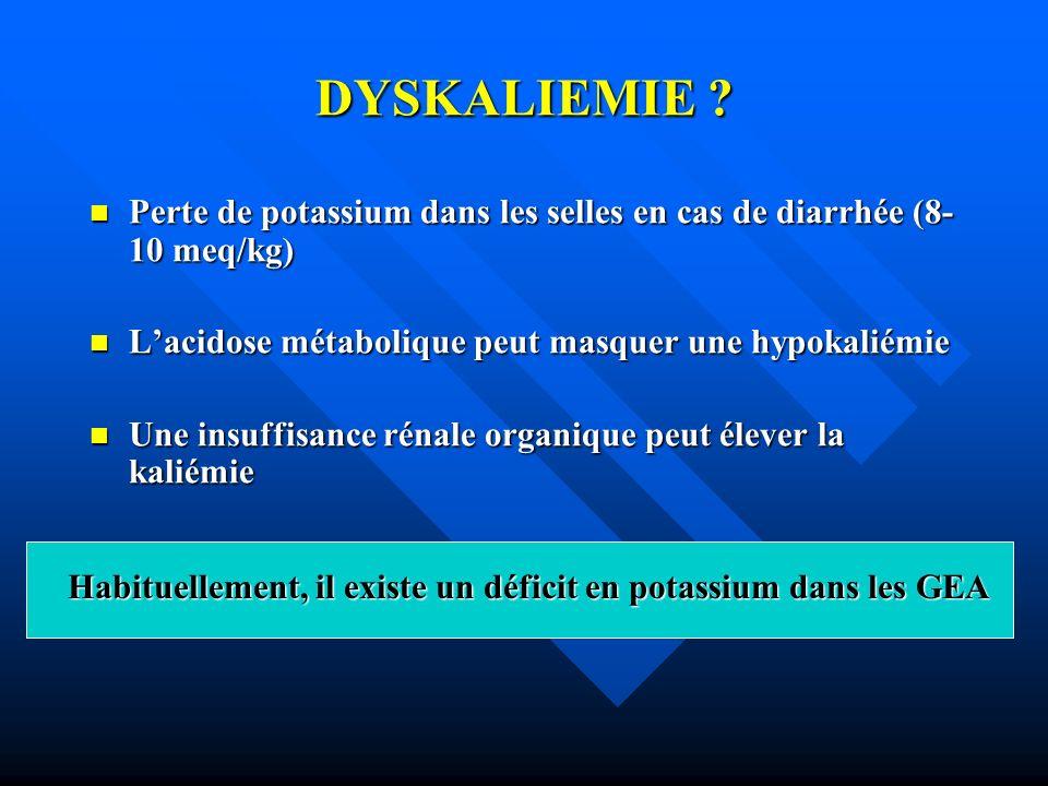 DYSKALIEMIE ? Perte de potassium dans les selles en cas de diarrhée (8- 10 meq/kg) Perte de potassium dans les selles en cas de diarrhée (8- 10 meq/kg