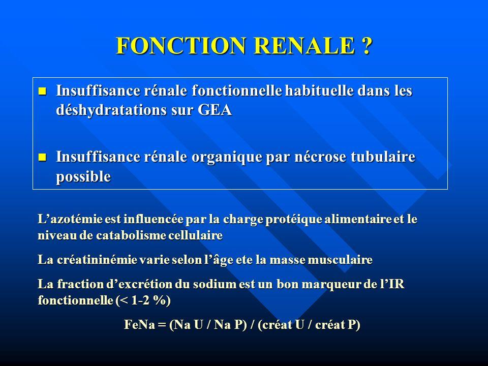 FONCTION RENALE ? Insuffisance rénale fonctionnelle habituelle dans les déshydratations sur GEA Insuffisance rénale fonctionnelle habituelle dans les