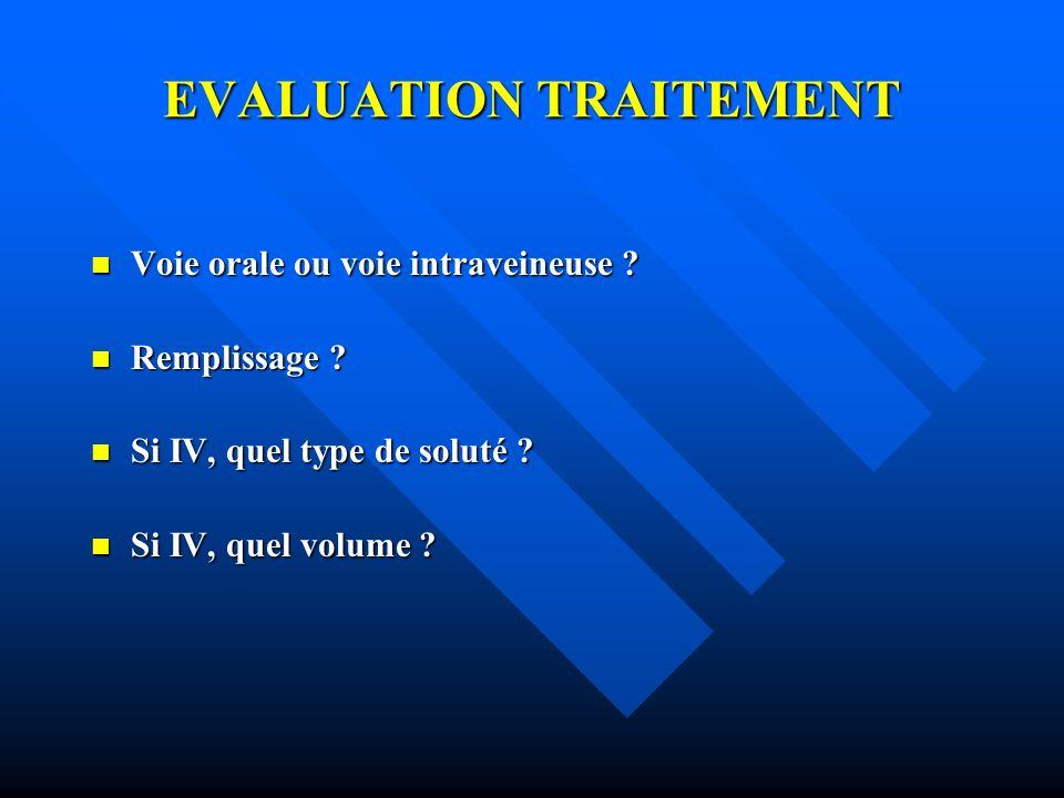 EVALUATION TRAITEMENT Voie orale ou voie intraveineuse ? Voie orale ou voie intraveineuse ? Remplissage ? Remplissage ? Si IV, quel type de soluté ? S