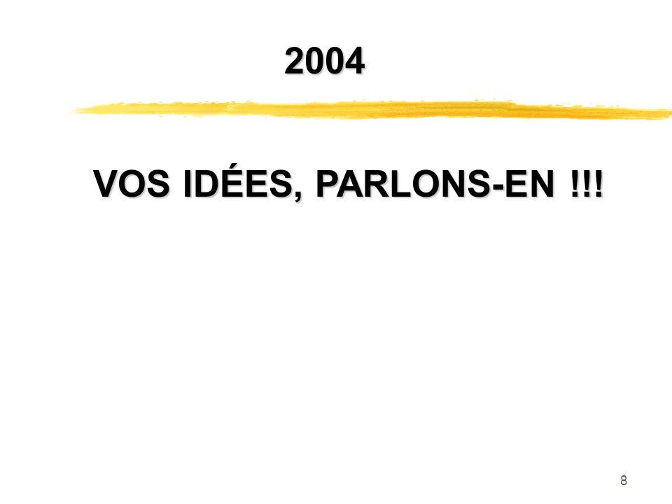 8 VOS IDÉES, PARLONS-EN !!! VOS IDÉES, PARLONS-EN !!! 2004 2004