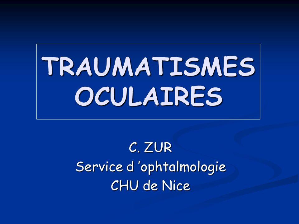 TRAUMATISMES OCULAIRES C. ZUR Service d ophtalmologie CHU de Nice