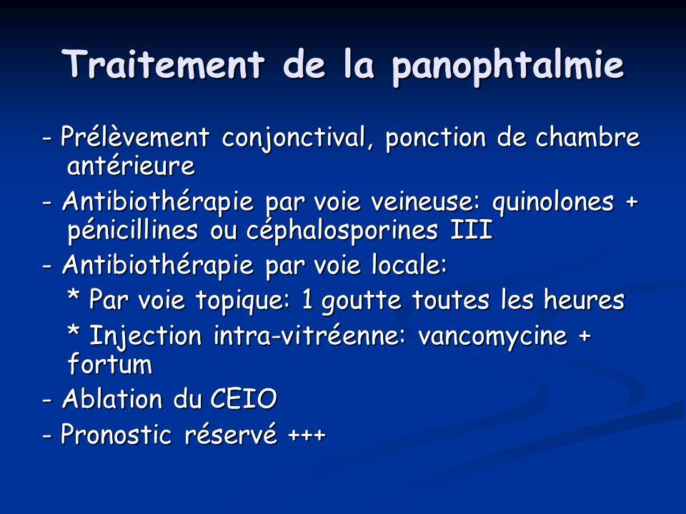 Traitement de la panophtalmie - Prélèvement conjonctival, ponction de chambre antérieure - Antibiothérapie par voie veineuse: quinolones + pénicilline