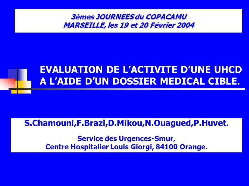 EVALUATION DE LACTIVITE DUNE UHCD A LAIDE DUN DOSSIER MEDICAL CIBLE. S.Chamouni,F.Brazi,D.Mikou,N.Ouagued,P.Huvet. Service des Urgences-Smur, Centre H