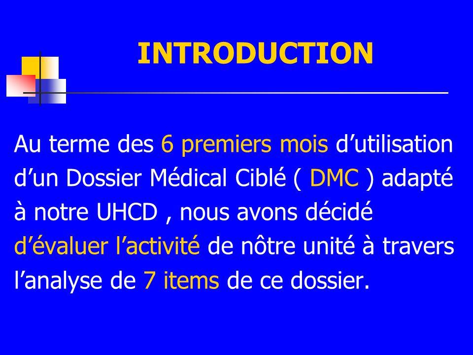 INTRODUCTION Au terme des 6 premiers mois dutilisation dun Dossier Médical Ciblé ( DMC ) adapté à notre UHCD, nous avons décidé dévaluer lactivité de