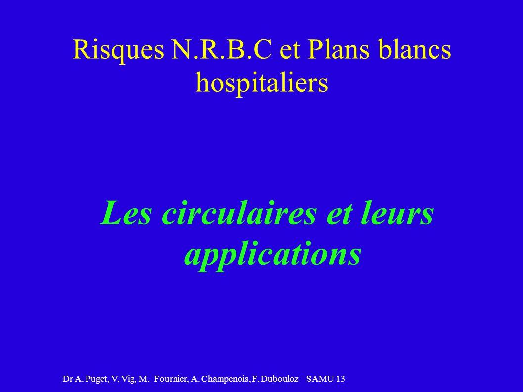 Dr A. Puget, V. Vig, M. Fournier, A. Champenois, F. Dubouloz SAMU 13 Risques N.R.B.C et Plans blancs hospitaliers Les circulaires et leurs application