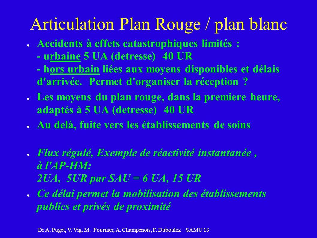 Dr A. Puget, V. Vig, M. Fournier, A. Champenois, F. Dubouloz SAMU 13 Articulation Plan Rouge / plan blanc Accidents à effets catastrophiques limités :