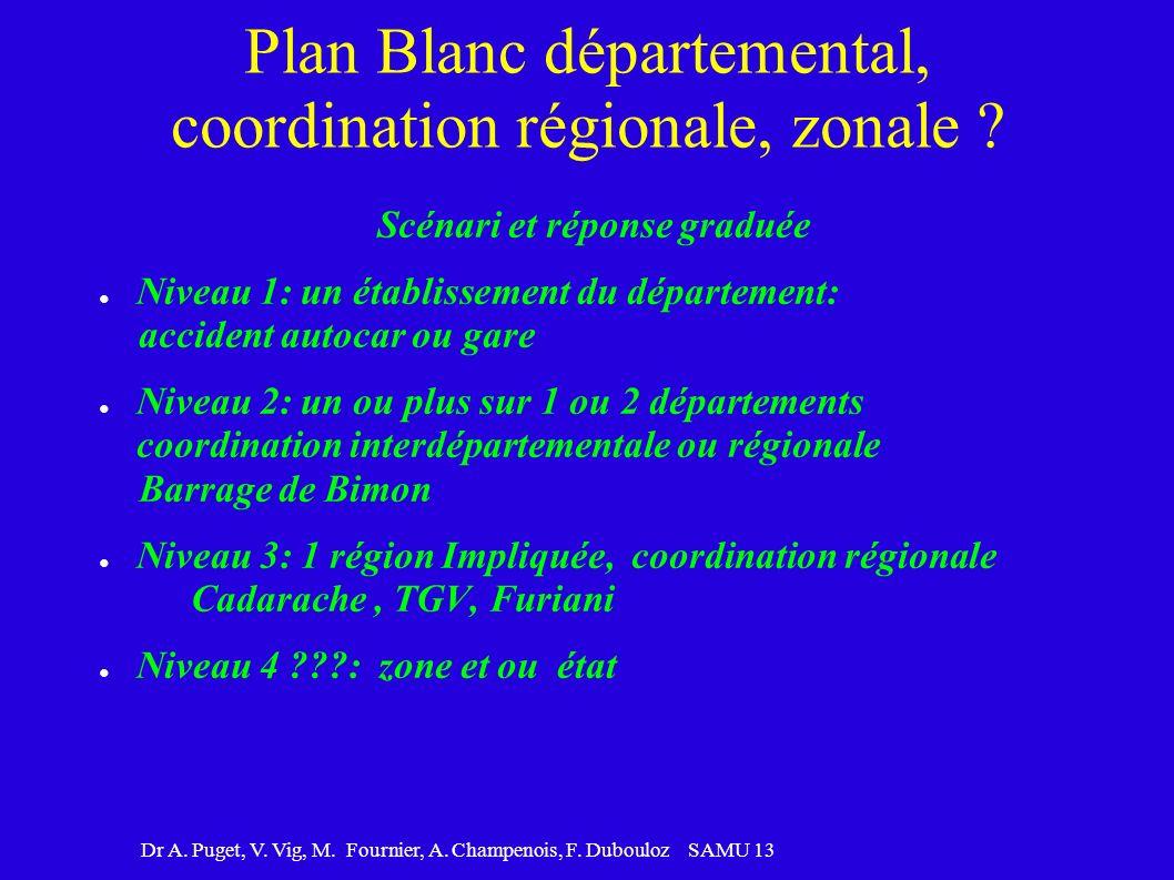 Dr A. Puget, V. Vig, M. Fournier, A. Champenois, F. Dubouloz SAMU 13 Plan Blanc départemental, coordination régionale, zonale ? Scénari et réponse gra
