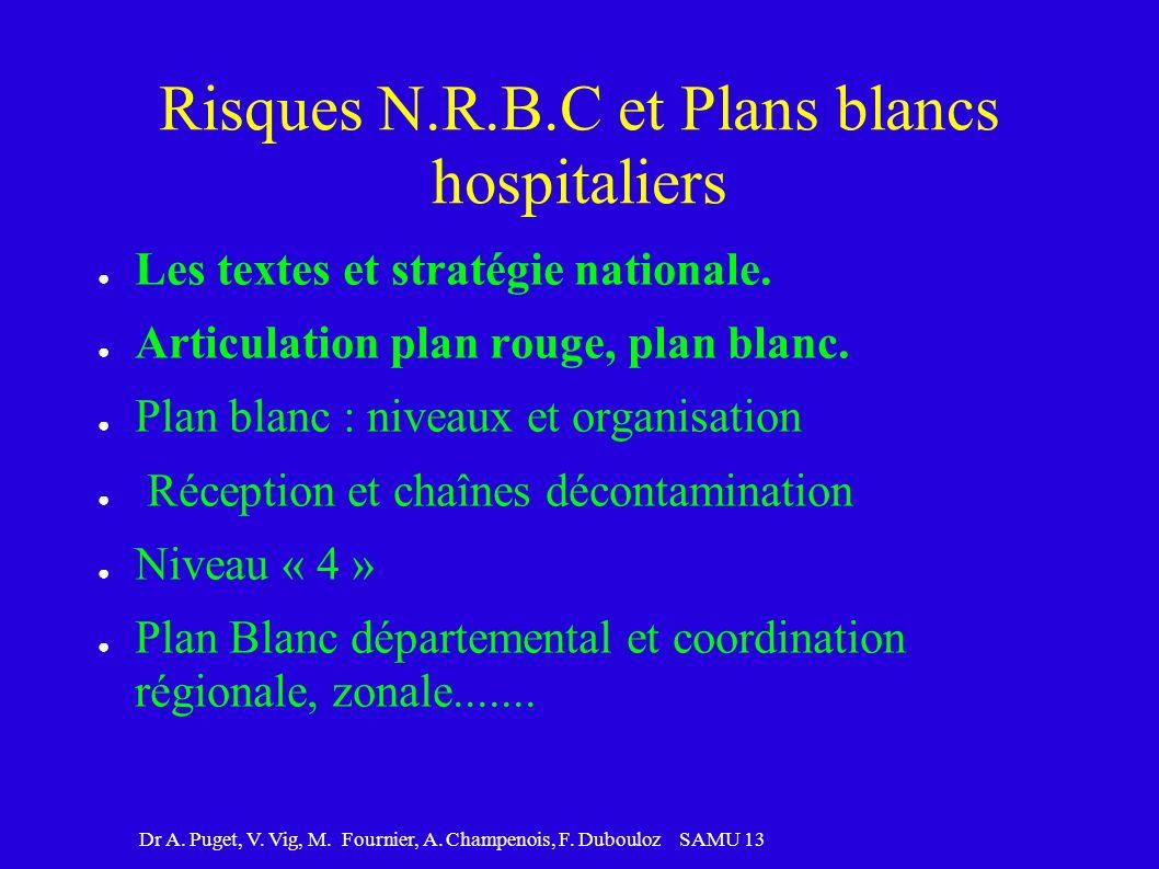 Dr A. Puget, V. Vig, M. Fournier, A. Champenois, F. Dubouloz SAMU 13 Risques N.R.B.C et Plans blancs hospitaliers Les textes et stratégie nationale. A