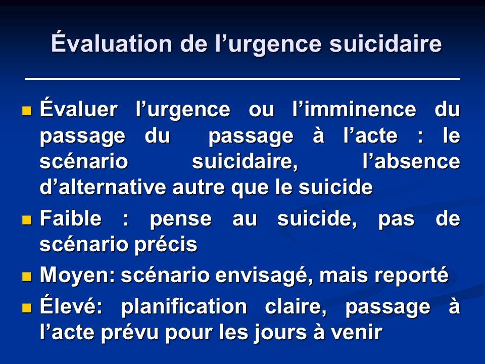 Évaluation de lurgence suicidaire Évaluer lurgence ou limminence du passage du passage à lacte : le scénario suicidaire, labsence dalternative autre q