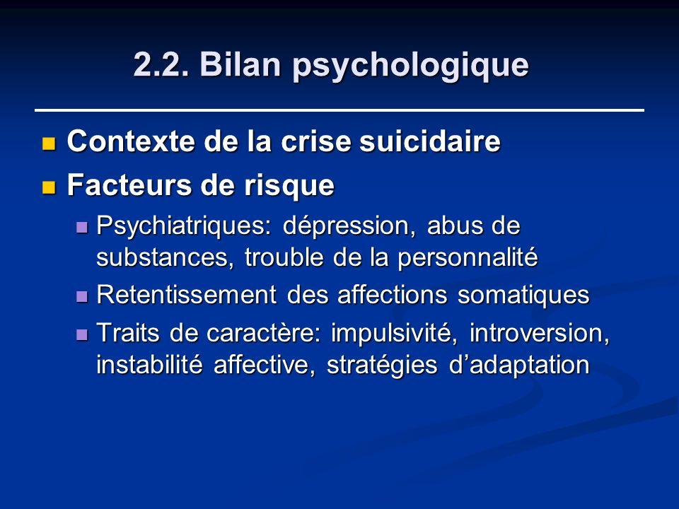 2.2. Bilan psychologique Contexte de la crise suicidaire Contexte de la crise suicidaire Facteurs de risque Facteurs de risque Psychiatriques: dépress