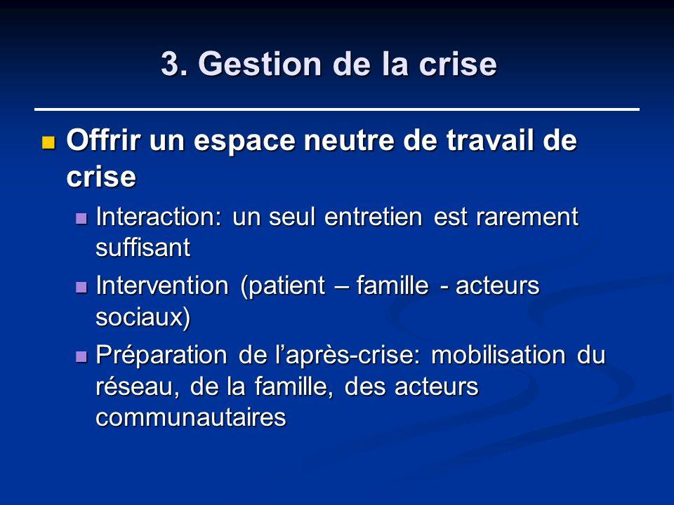3. Gestion de la crise Offrir un espace neutre de travail de crise Offrir un espace neutre de travail de crise Interaction: un seul entretien est rare