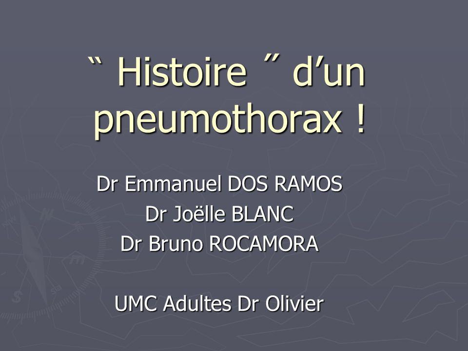 ̏ Histoire ˝ dun pneumothorax ! Dr Emmanuel DOS RAMOS Dr Joëlle BLANC Dr Bruno ROCAMORA UMC Adultes Dr Olivier