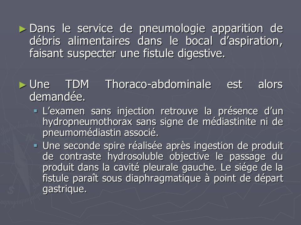 Dans le service de pneumologie apparition de débris alimentaires dans le bocal daspiration, faisant suspecter une fistule digestive. Dans le service d