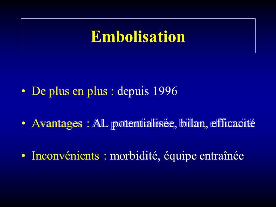Embolisation De plus en plus : depuis 1996 Avantages : AL potentialisée, bilan, efficacité Inconvénients : morbidité, équipe entraînée De plus en plus