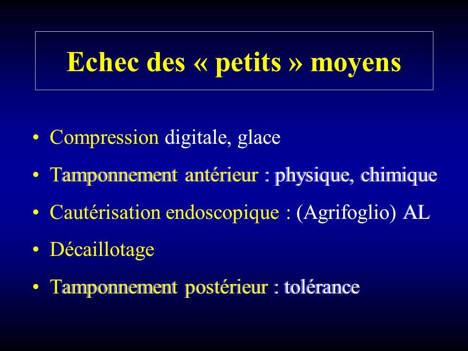 Echec des « petits » moyens Compression digitale, glace Tamponnement antérieur : physique, chimique Cautérisation endoscopique : (Agrifoglio) AL Décai