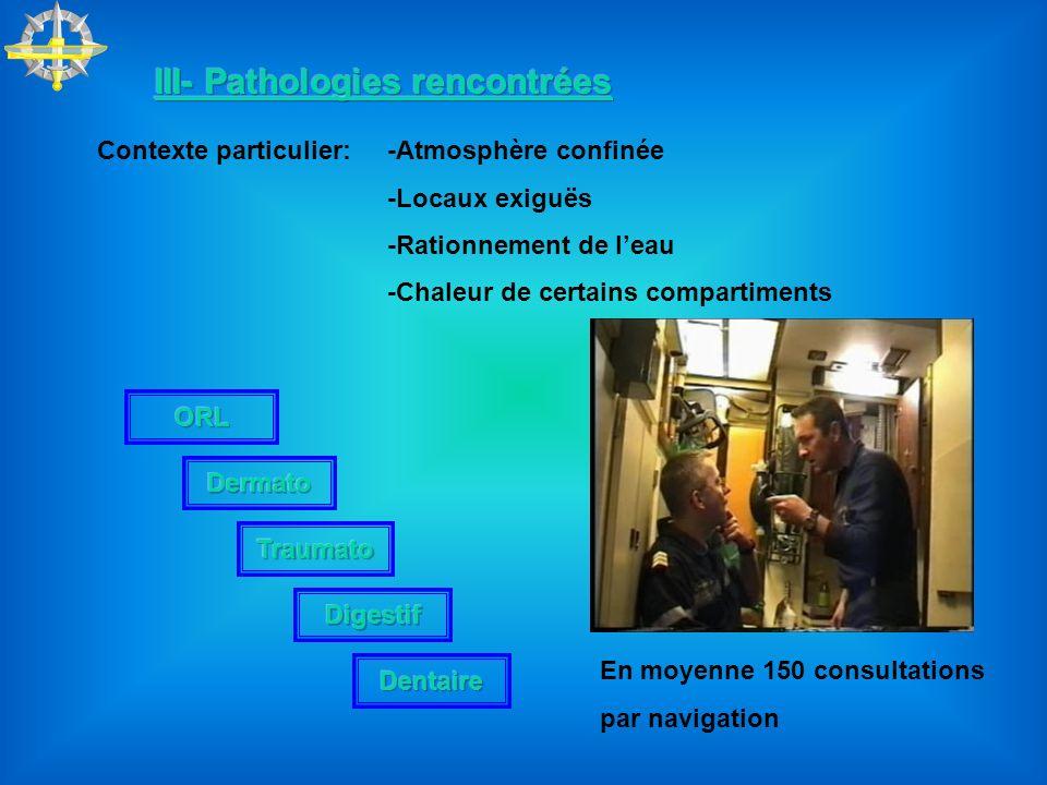 Contexte particulier:-Atmosphère confinée -Locaux exiguës -Rationnement de leau -Chaleur de certains compartiments En moyenne 150 consultations par na