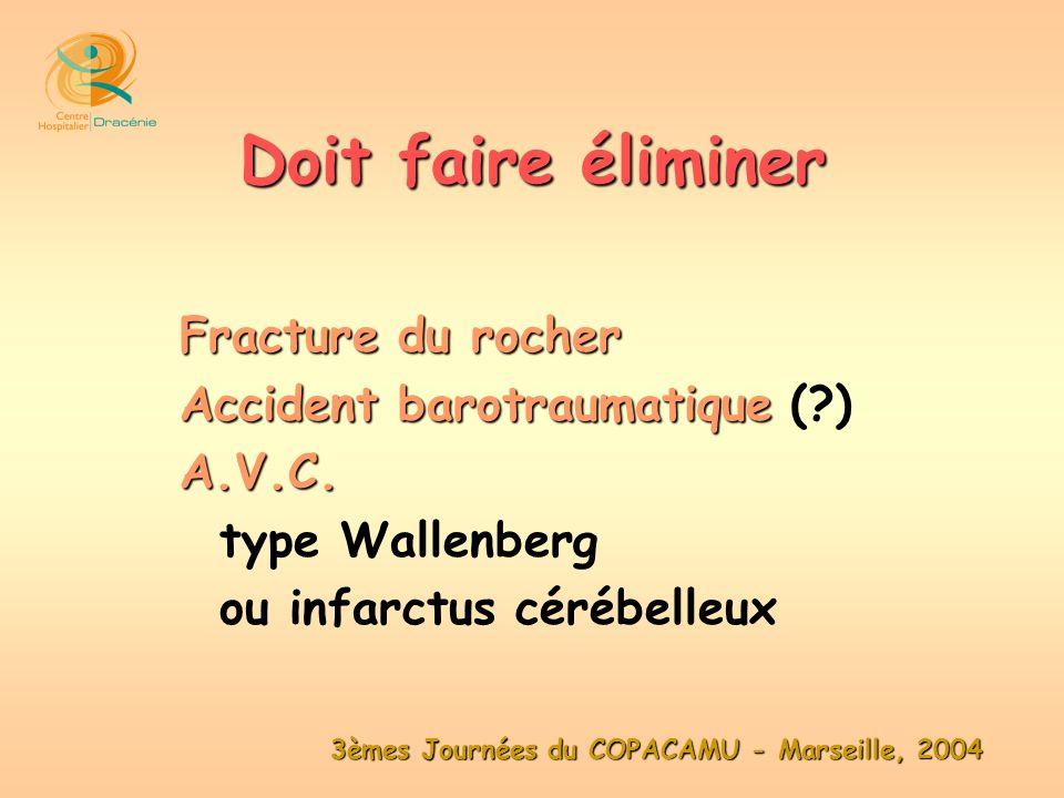 3èmes Journées du COPACAMU - Marseille, 2004 Fracture du rocher Accident barotraumatique Accident barotraumatique (?)A.V.C. type Wallenberg ou infarct