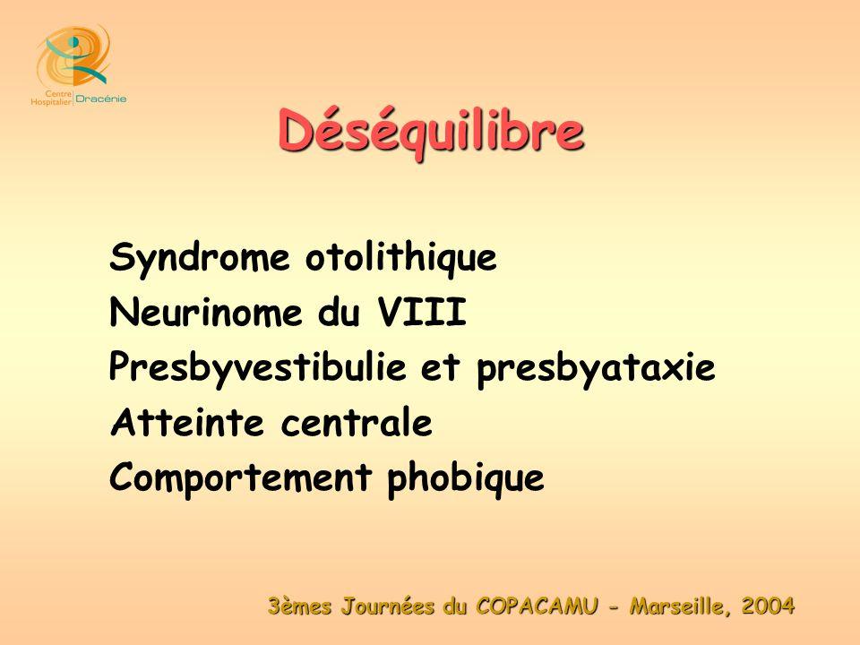 3èmes Journées du COPACAMU - Marseille, 2004 Syndrome otolithique Neurinome du VIII Presbyvestibulie et presbyataxie Atteinte centrale Comportement ph