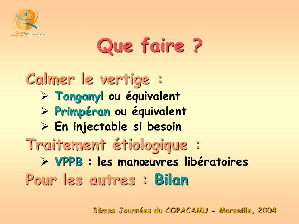 3èmes Journées du COPACAMU - Marseille, 2004 Calmer le vertige : Tanganyl Tanganyl ou équivalent Primpéran Primpéran ou équivalent En injectable si be