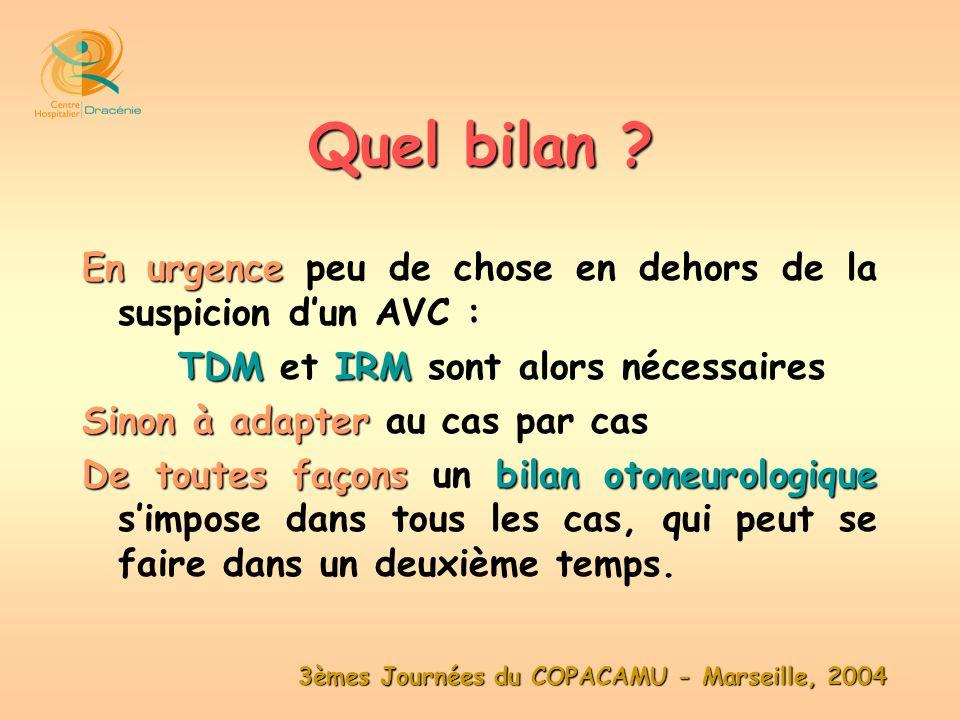3èmes Journées du COPACAMU - Marseille, 2004 En urgence En urgence peu de chose en dehors de la suspicion dun AVC : TDMIRM TDM et IRM sont alors néces
