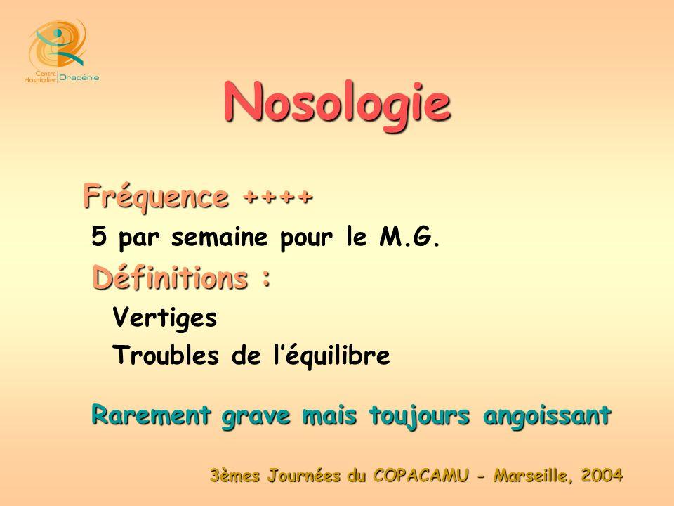 3èmes Journées du COPACAMU - Marseille, 2004 Fréquence ++++ 5 par semaine pour le M.G. Définitions : Vertiges Troubles de léquilibre Rarement grave ma