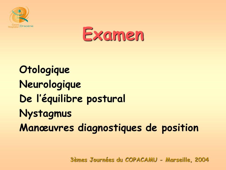 Otologique Neurologique De léquilibre postural Nystagmus Manœuvres diagnostiques de position Examen
