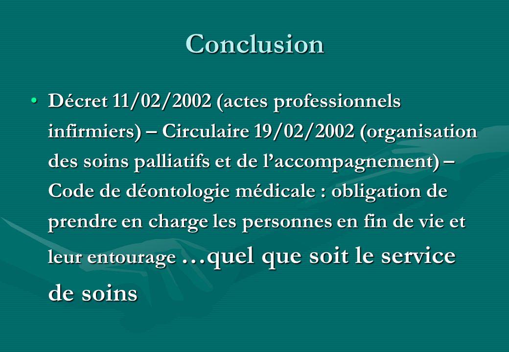 Conclusion Décret 11/02/2002 (actes professionnels infirmiers) – Circulaire 19/02/2002 (organisation des soins palliatifs et de laccompagnement) – Cod