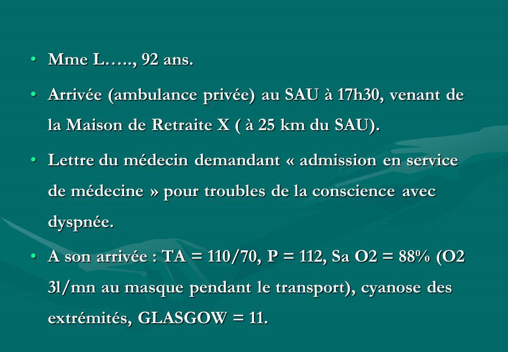 Mme L….., 92 ans.Mme L….., 92 ans. Arrivée (ambulance privée) au SAU à 17h30, venant de la Maison de Retraite X ( à 25 km du SAU).Arrivée (ambulance p