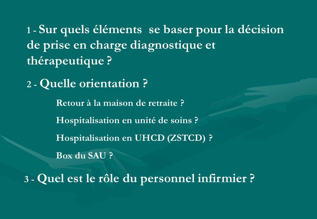 1 - Sur quels éléments se baser pour la décision de prise en charge diagnostique et thérapeutique ? 3 - Quel est le rôle du personnel infirmier ? 2 -