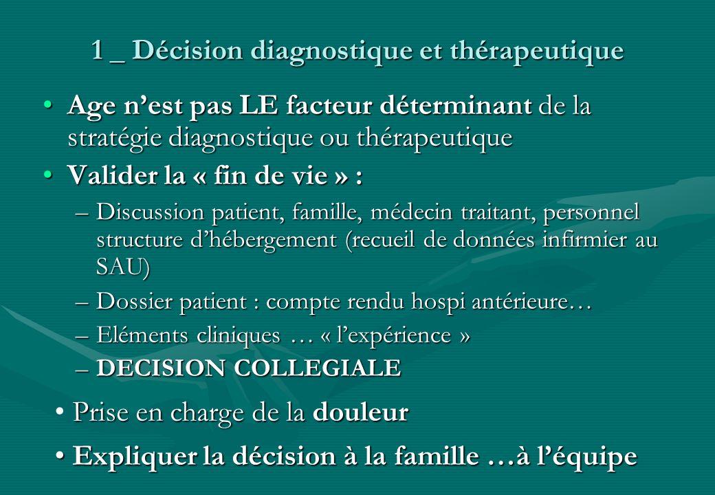 1 _ Décision diagnostique et thérapeutique Age nest pas LE facteur déterminant de la stratégie diagnostique ou thérapeutiqueAge nest pas LE facteur dé