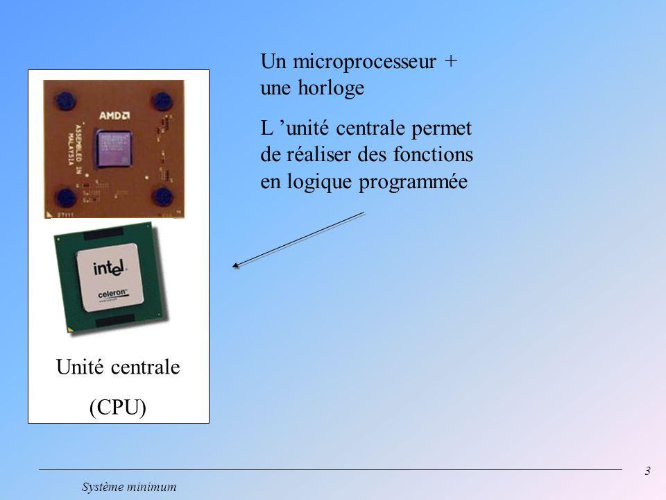 3 Système minimum Un microprocesseur + une horloge L unité centrale permet de réaliser des fonctions en logique programmée Unité centrale (CPU)