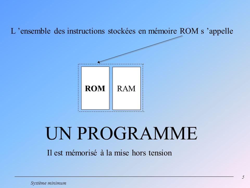 5 Système minimum ROM RAM UN PROGRAMME L ensemble des instructions stockées en mémoire ROM s appelle Il est mémorisé à la mise hors tension