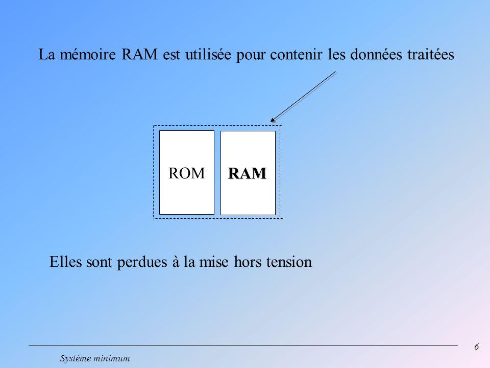 6 Système minimum ROM RAM La mémoire RAM est utilisée pour contenir les données traitées Elles sont perdues à la mise hors tension
