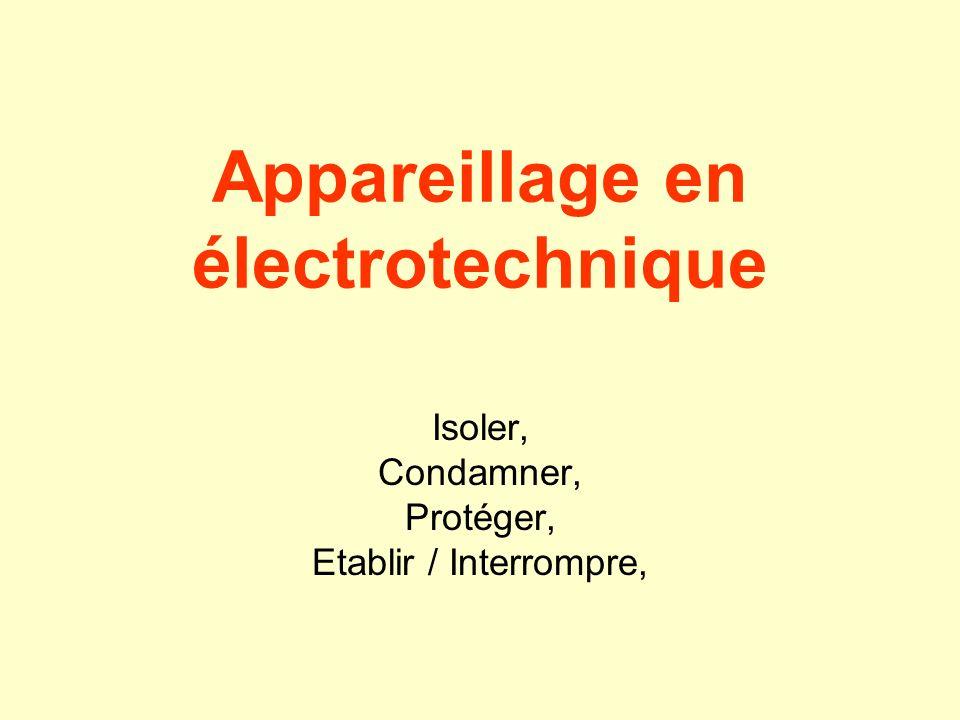 Fonctions des appareillages électriques Séparer Condamner Protéger contre les courts-circuits Protéger contre les surchargesProtéger les personnes Etablir et interrompre lénergie Moduler lénergie Récepteur