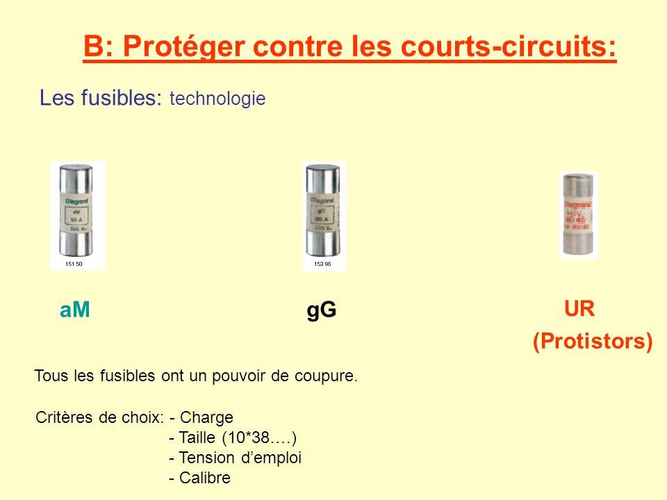 Les fusibles: technologie B: Protéger contre les courts-circuits: aMgG UR (Protistors) Tous les fusibles ont un pouvoir de coupure. Critères de choix: