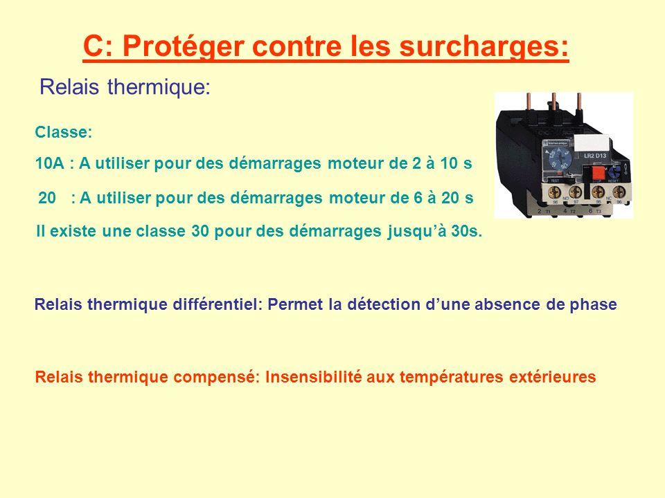 Relais thermique: 10A : A utiliser pour des démarrages moteur de 2 à 10 s 20 : A utiliser pour des démarrages moteur de 6 à 20 s Il existe une classe