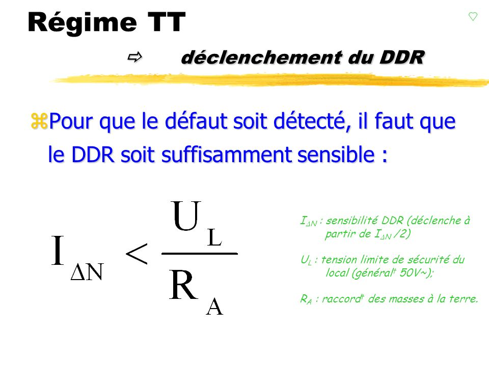 DDR Régime TT DDR On comprend ici la nécessité de mise à la terre ! BB B B