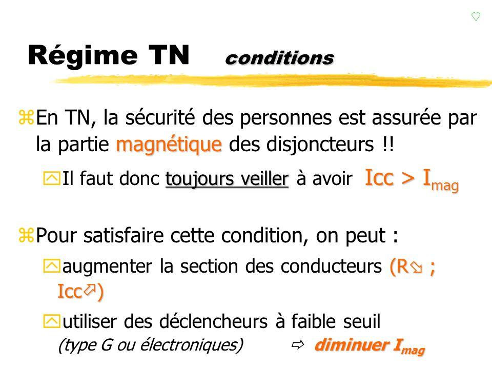 t déclenchement Régime TN t déclenchement La partie magnétique des disjoncteurs protège ici les personnes !! Il faut donc toujours connaître préciséme