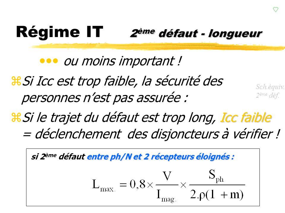 courant de 2 ème défaut Régime IT courant de 2 ème défaut zDe même quen régime TN, on considère une chute de tension en ligne de 20%. zLe courant de c