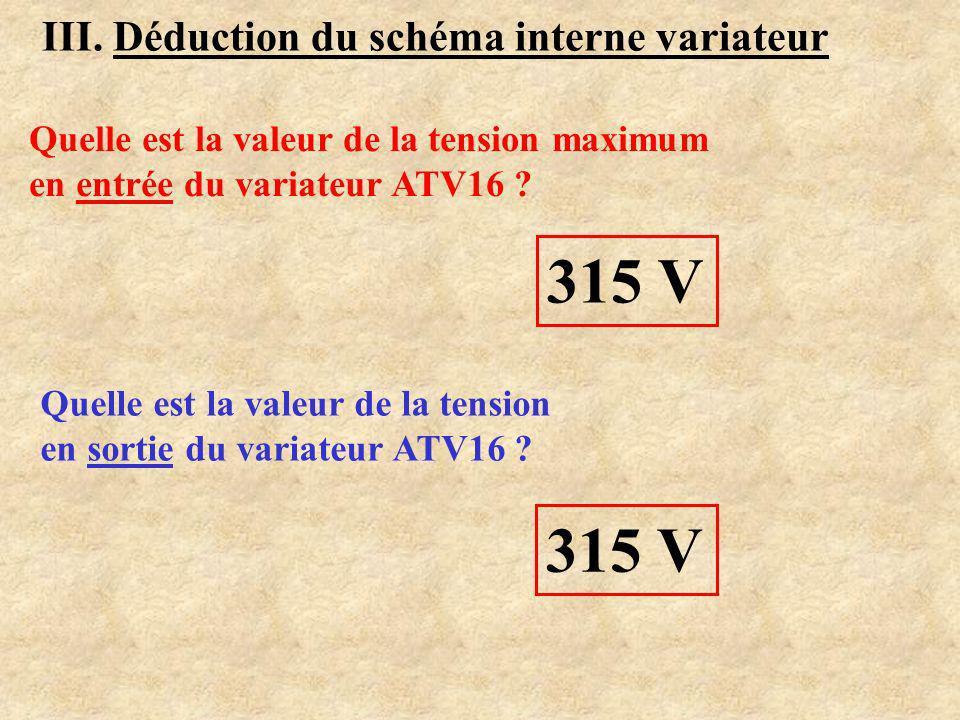 III. Déduction du schéma interne variateur i(t) : 2 pics >0 et 2 pics <0i(t) : 1 pic >0 et 1 pic <0 Variateur alimenté en monophasé Variateur alimenté