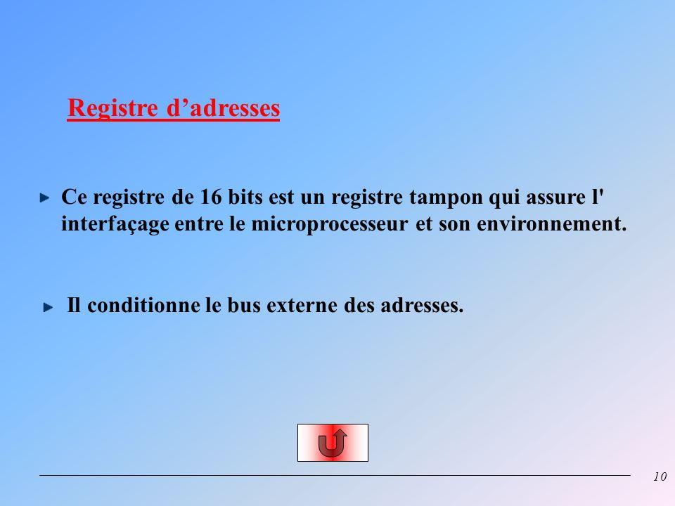 9 Registre de données Ce registre de 8 bits est un registre tampon qui assure l'interfaçage entre le microprocesseur et son environnement ou inverseme