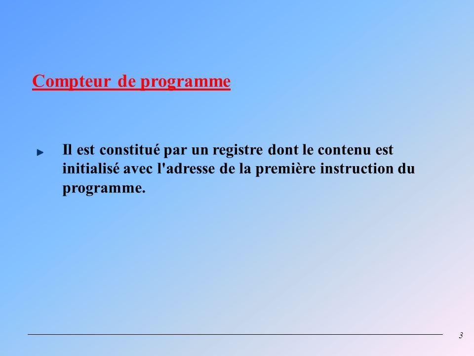 2 BLOC LOGIQUE DE COMMANDE (CU) Registre détat Décodeur SP PC ALU REGISTREREGISTRE D I N D E X ACCUMULATEURACCUMULATEUR Code Op. Registre dinstruction