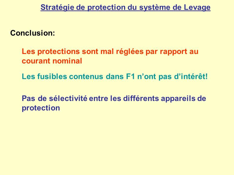 Stratégie de protection du système de Levage Conclusion: Les protections sont mal réglées par rapport au courant nominal Les fusibles contenus dans F1