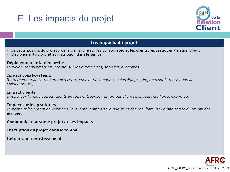 AFRC_24HRC_Dossier candidature MERC 2013 E. Les impacts du projet Les impacts du projet Impacts positifs du projet / de la démarche sur les collaborat