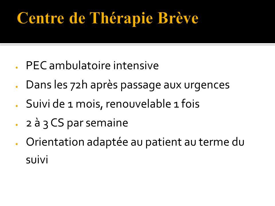 PEC ambulatoire intensive Dans les 72h après passage aux urgences Suivi de 1 mois, renouvelable 1 fois 2 à 3 CS par semaine Orientation adaptée au patient au terme du suivi