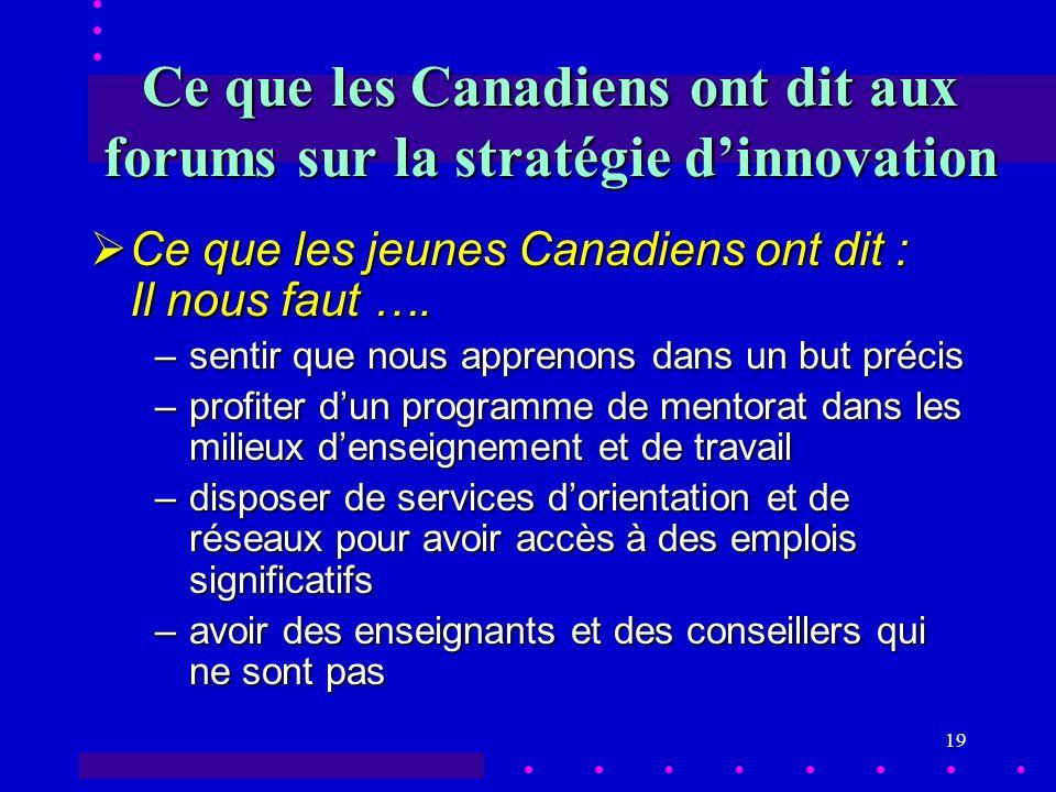 19 Ce que les Canadiens ont dit aux forums sur la stratégie dinnovation Ce que les jeunes Canadiens ont dit : Il nous faut ….