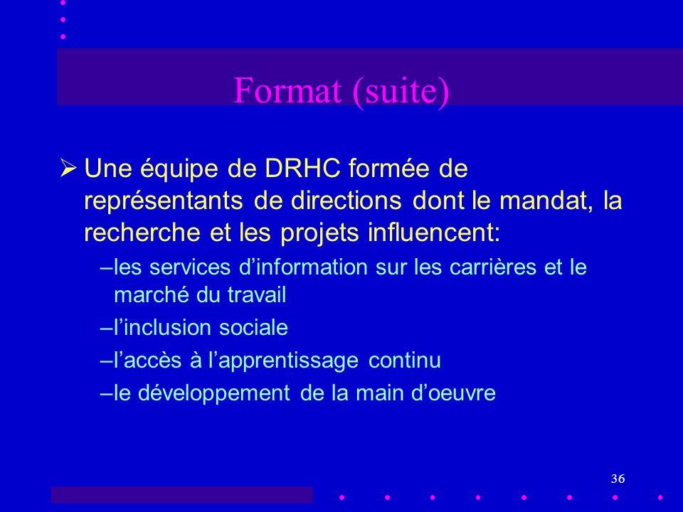 36 Format (suite) Une équipe de DRHC formée de représentants de directions dont le mandat, la recherche et les projets influencent: –les services dinformation sur les carrières et le marché du travail –linclusion sociale –laccès à lapprentissage continu –le développement de la main doeuvre